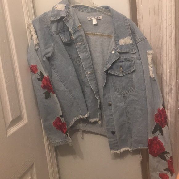 Say What? Jackets & Blazers - Ripped rose embroidery jean jacket
